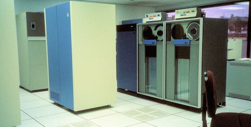 IBM DASD (Direct Access Storage Device) controller and tape drives in the computer room.