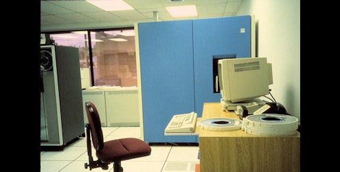 IBM 4381 mainframe running Geographic Facilities Information System (GFIS) software.