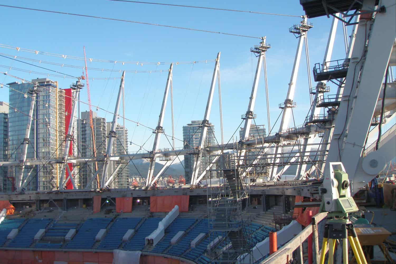 "Reflectorless Leica 1"" Total Station used in positioning the masts of the new BC Place roof, 2011"