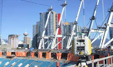 3D Laser scanning for as built check of one of the masts for the new BC Place roof, 2010.