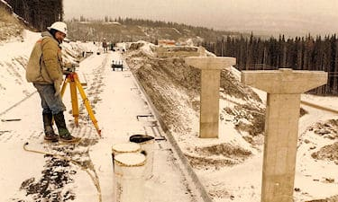 G.C. Friesen on bridge construction for the BC Rail Tumbler Ridge Branch Line, ca. 1981-1982.