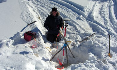 G. Fletcher at Russell Lake, Sask . Establishing GPS control for MWH Geo-Surveys GPS/Gravity survey for CAMECO, 2007.