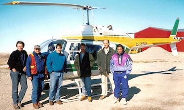 The crew of the Cambridge Bay Nunavut Land Claim survey in 1996. From left: J.L. Salesse, M. Kearney, C. Cryderman, S. Brown, daytime helicopter pilot, and assistant.