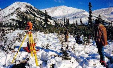 K. Lanigan, S. Dixon, and Jim(pilot) near Summit Lake. On CYFN Land Claim Survey.