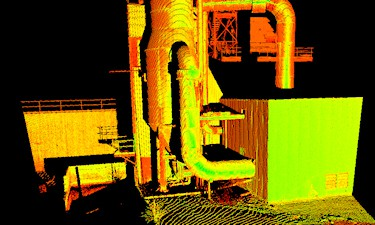 Rendering of 3D Laser Scanning survey at the Chevron Burnaby Refinery.