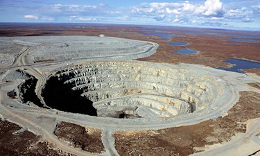 The Panda Pit at Ekati Diamond Mine, NT. Underhill completed a number of precise ramp and tunnel surveys in 2004, 2005.