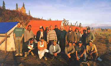 Survey crew at Bell/Porcupine camp east of Old Crow. CYFN, 1996