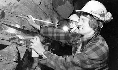 I. Royan and D. Browett on BC Rail tunnel project, ca. 1982.