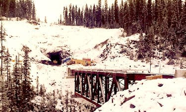 Tunnel surveys on the BC Rail Tumbler Ridge branch line project. 1982.