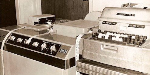 "Control Data paper tape punch/reader next to Friden Flexowriter ""keyboard"" interface for LGP-30."