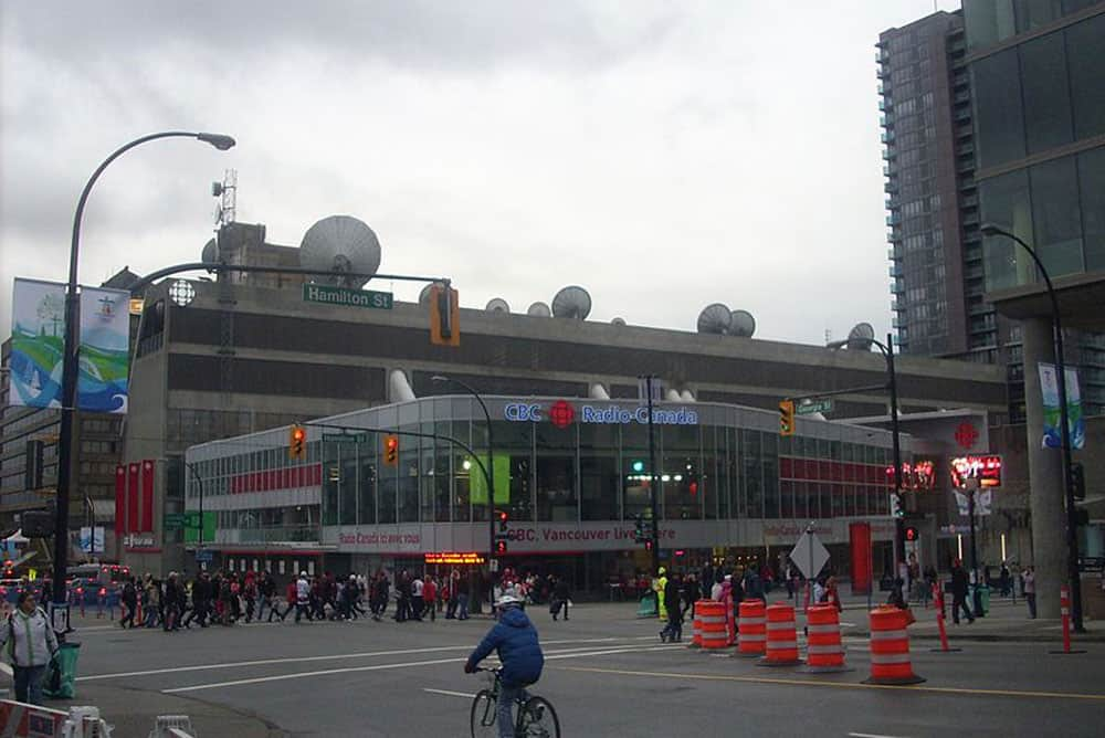 CBC Vancouver with newsroom addition and TV Towers.