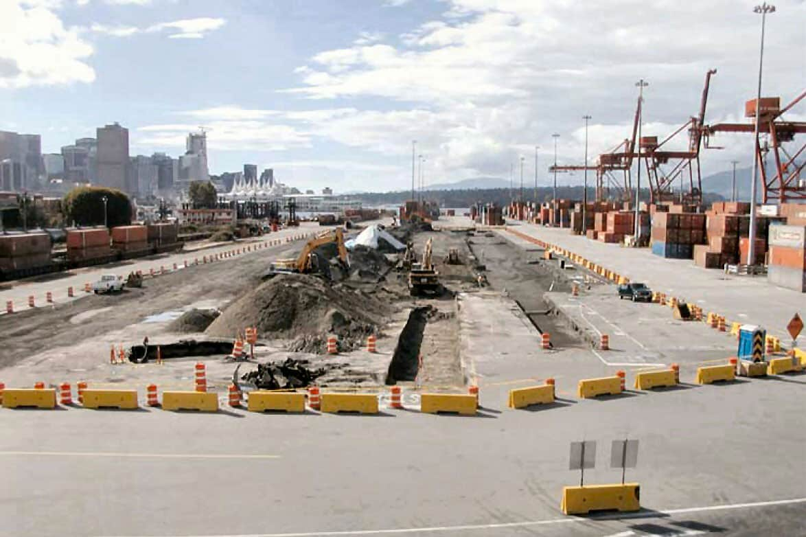 Runway construction at DP World Canada's Centerm facility, Vancouver.
