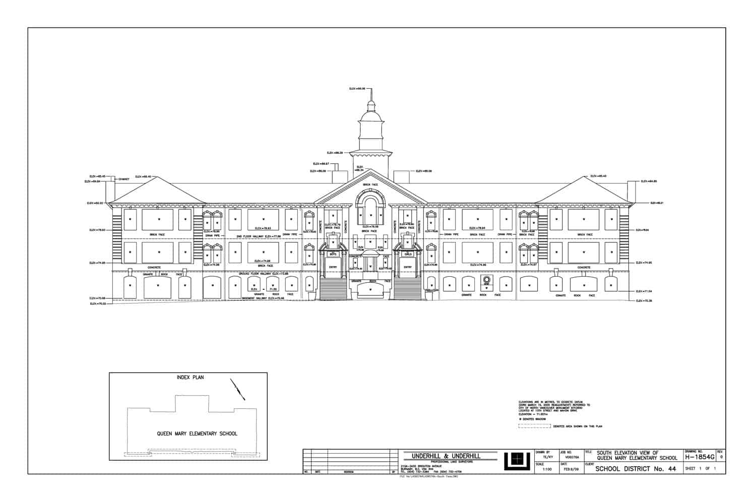 Elevation of Queen Mary Elementary