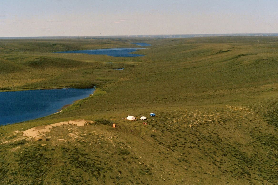 "Underhill Horton River Camp with the end of ""Underhill"" Lake in the background, NT, 1988"