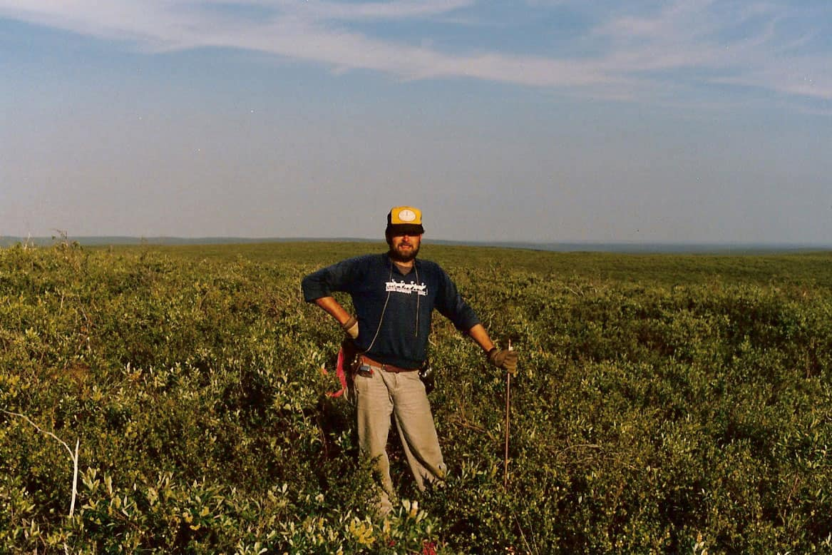 G.C. Friesen posting the Inuvialut Land Claim boundary near Horton River, NT, 1988.