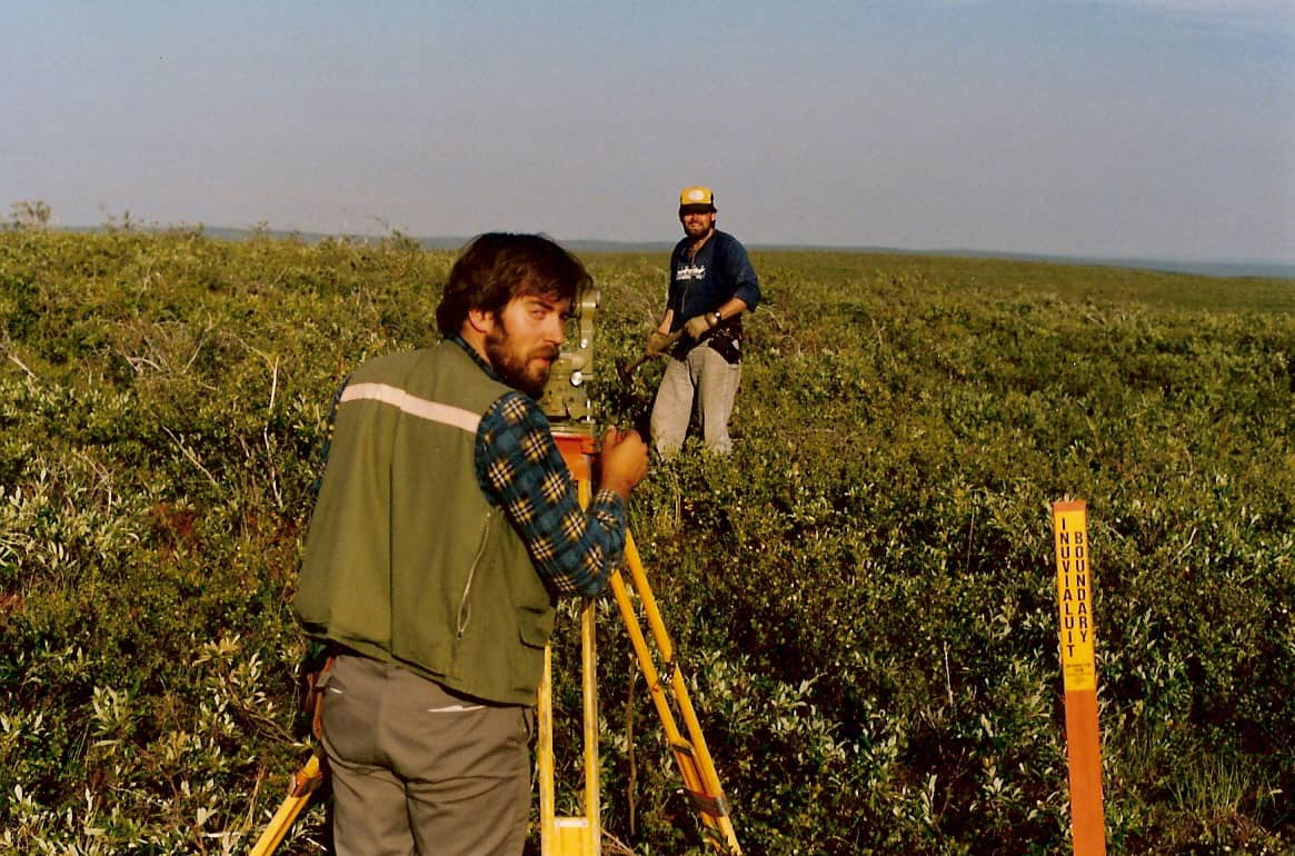 On the Inuvialuit Land Claim Boundary - near Horton River, NT. C.S. Cryderman (foreground), G.C. Friesen (background), 1988.