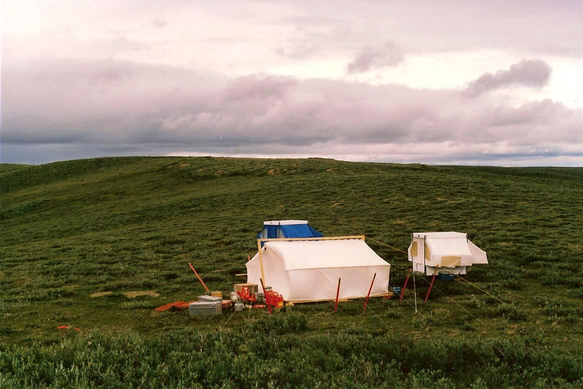 "Horton River camp with the ""UnderHilton"" (forground), NWT, 1988"