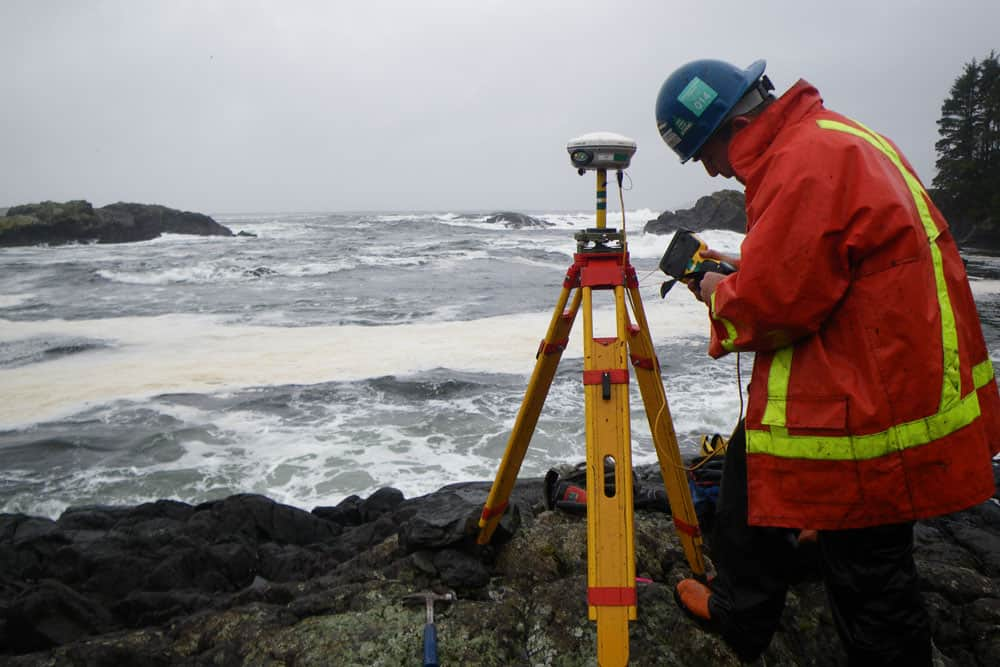 Surveying the Maa-Nulth preffective lands, Uclulet, BC, C. El Araj, 2009.