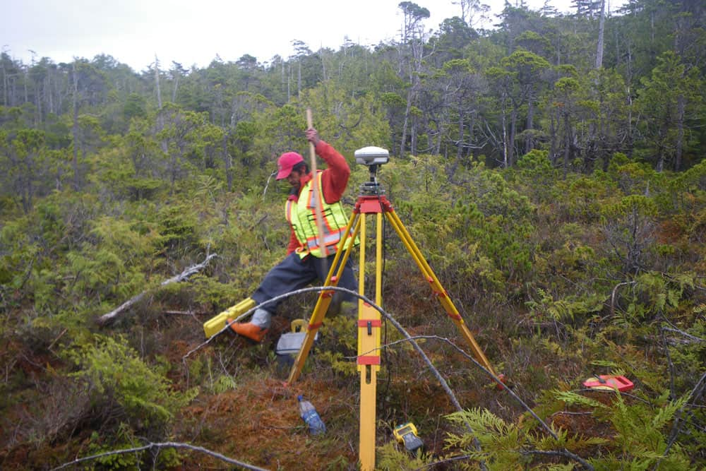 Surveying the Maa-Nulth preffective lands, Uclulet, BC,