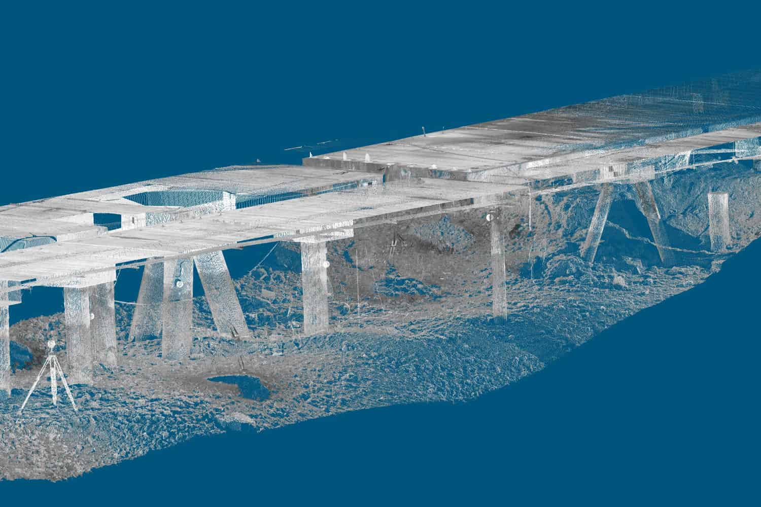 Realworks screen capture of point cloud of underside of Science World, 2011.