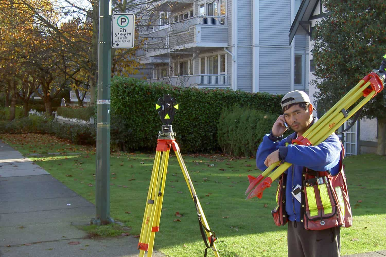 Control survey for topographic survey at Vancouver General Hospital. F. Taki, 2005.
