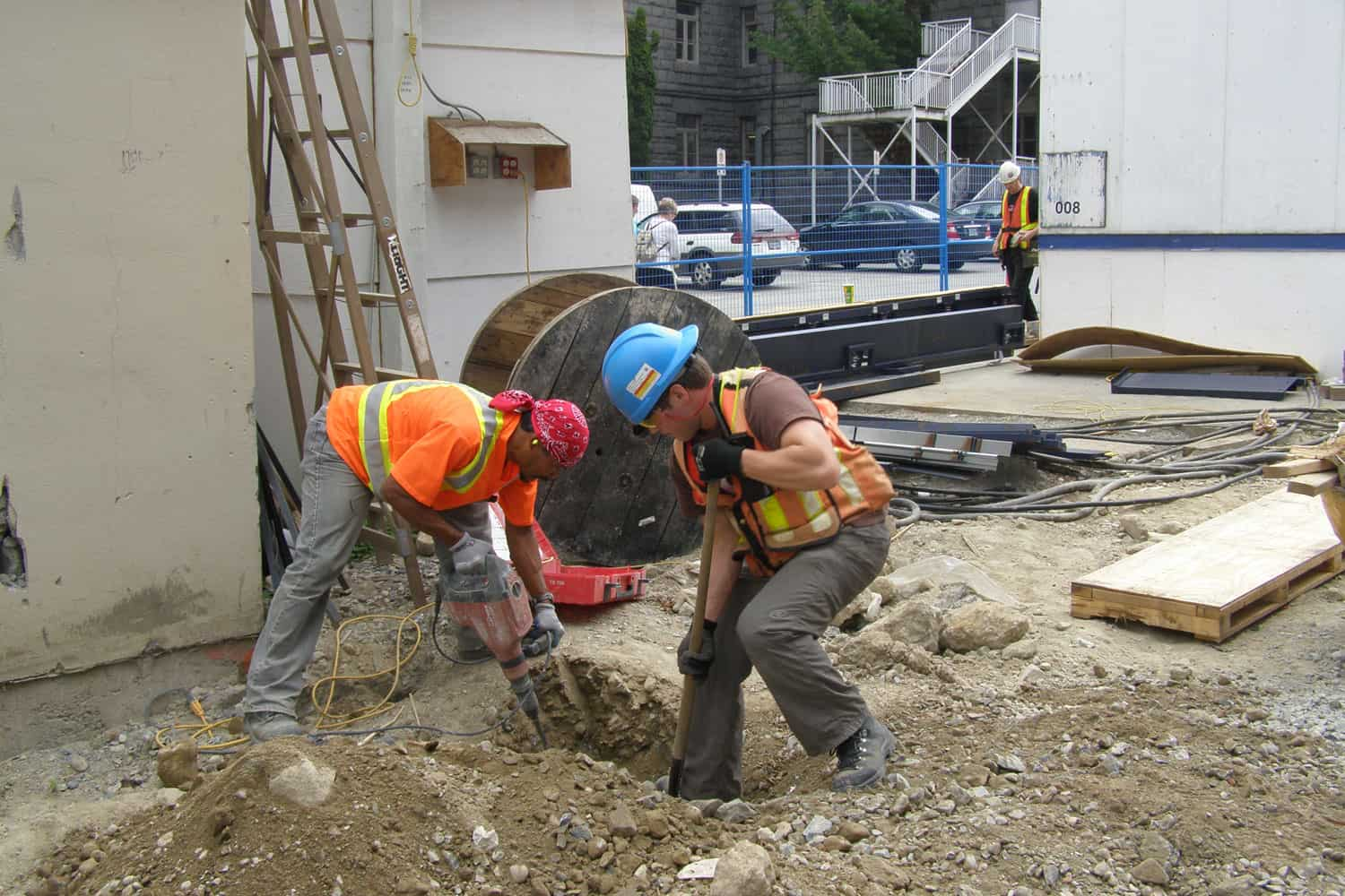 Digging up utilities at ICORD for as built. VGH, 2007.
