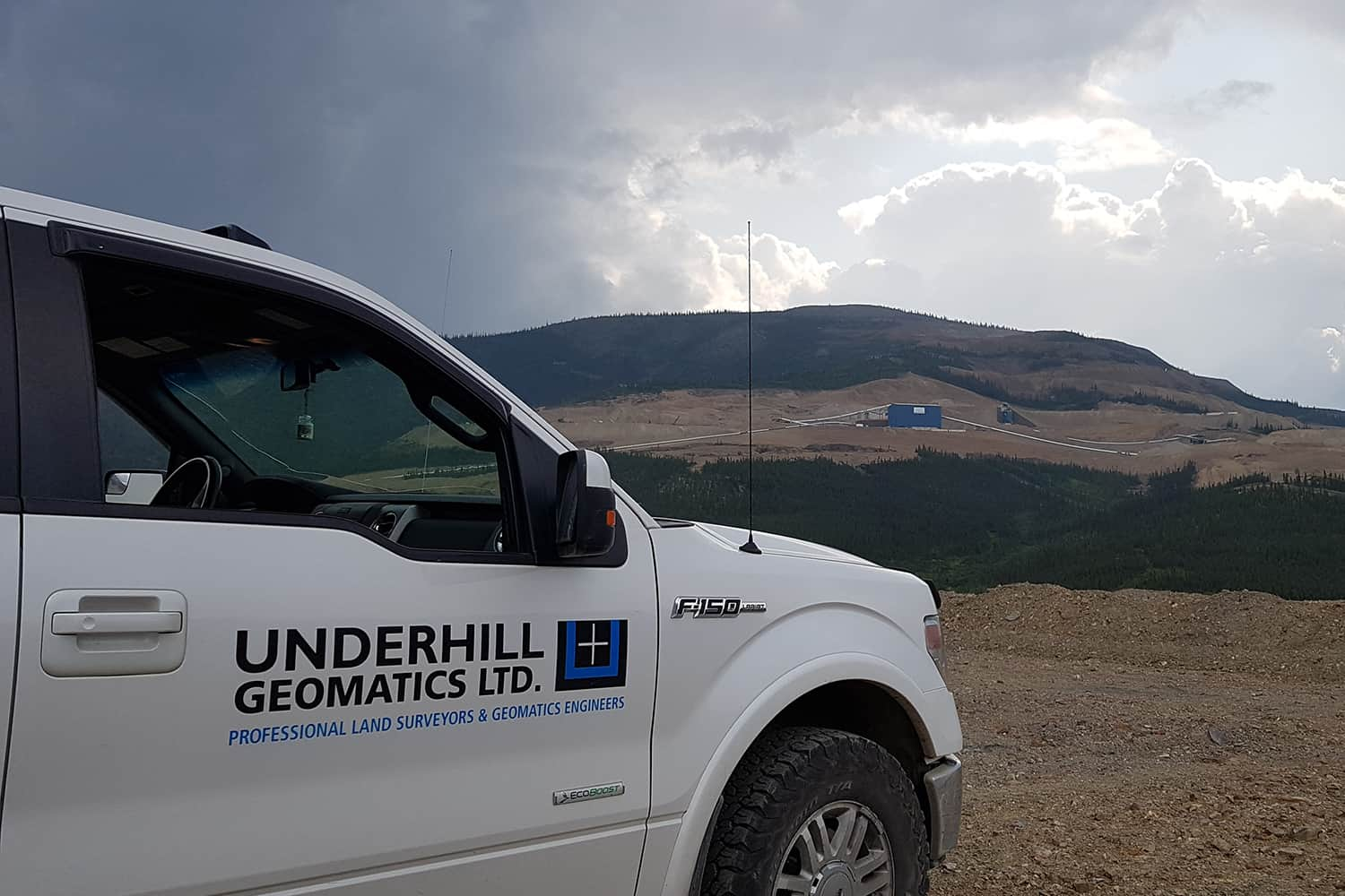 Underhill truck with Eagle Pit in the background. UAV flight. July 2019